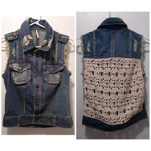 Free People Distressed Vest / Crochet Back XS